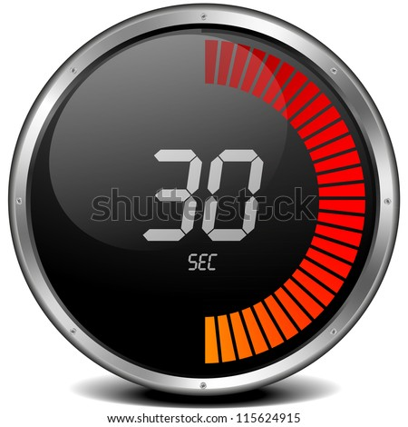 illustration of a metal framed digital stop watch showing 30s - stock photo