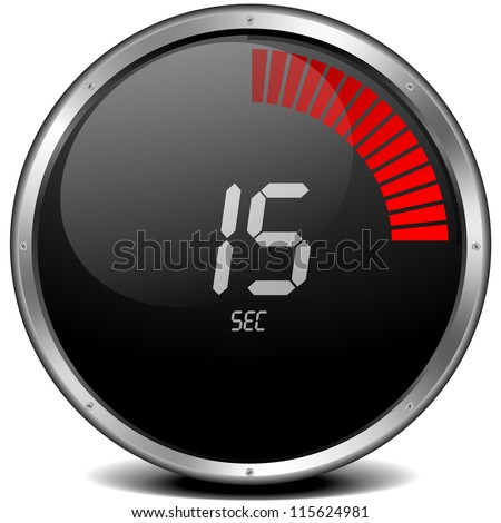 illustration of a metal framed digital stop watch showing 15s - stock photo