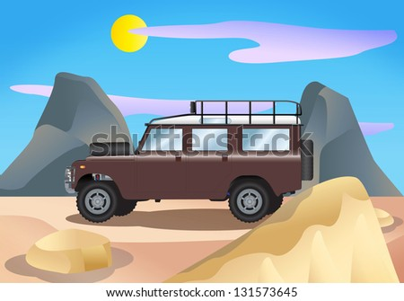 illustration of a metal vintage land-rover truck on desert background - stock photo