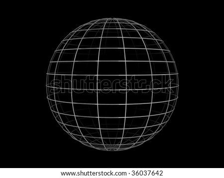 Illustration of a metallic wire frame sphere, on a black background. - stock photo