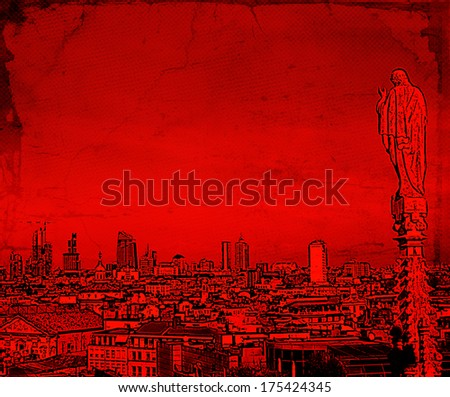 Illustration of a Milan Cityscape in red, with an Angel Statue and the Financial District in the Background - stock photo