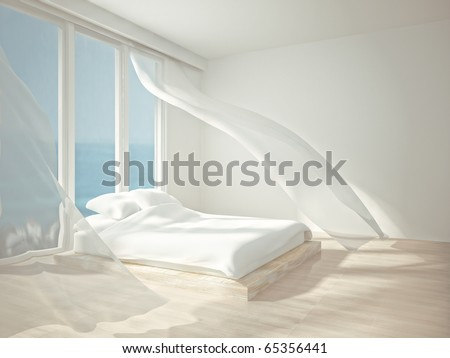 interior room white flowing curtains 3d stock illustration
