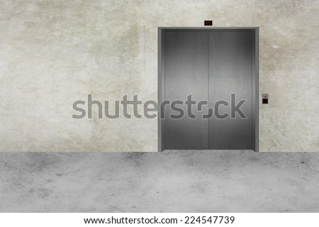 Illustration of a modern concrete wall with an Elevator door