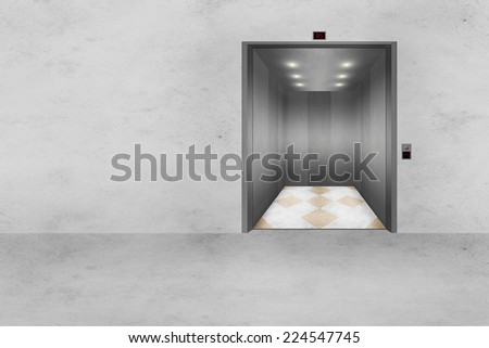Illustration of a modern concrete wall with an open Elevator door