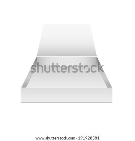 illustration of a modern white blank open box on white background
