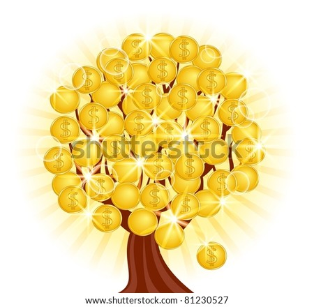 illustration of a money tree with coins on sunny background. Raster version - stock photo