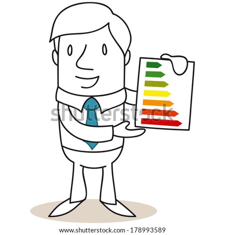 Illustration of a monochrome cartoon character: Businessman holding an energy consumption labeling scheme graphic. - stock photo