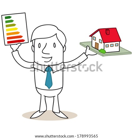 Illustration of a monochrome cartoon character: Businessman holding an energy efficiency label and a miniature model house. - stock photo