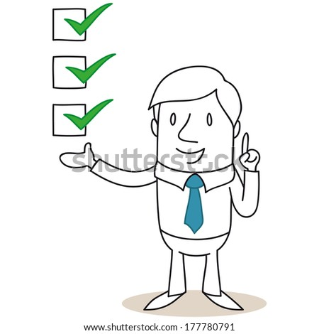 Illustration of a monochrome cartoon character: Businessman pointing and explaining with check boxes. - stock photo