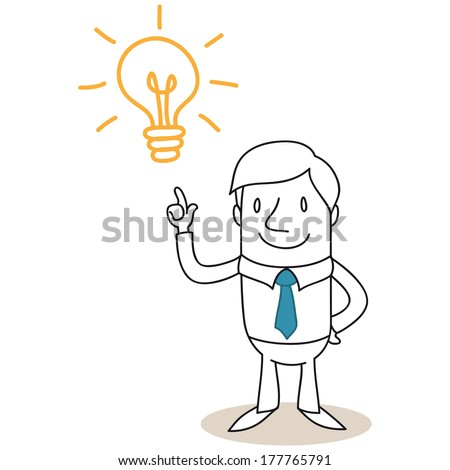 Illustration of a monochrome cartoon character: Businessman pointing at light bulb having a great idea  - stock photo