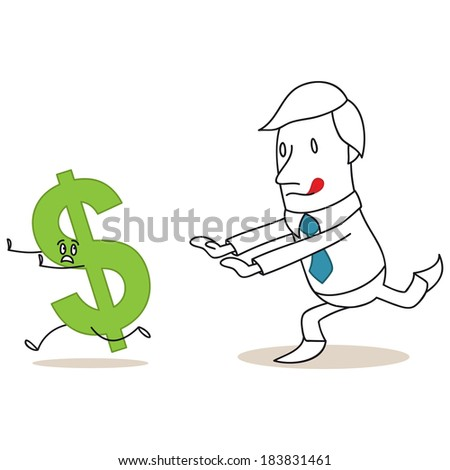 Illustration of a monochrome cartoon character: Greedy businessman chasing after dollar sign. - stock photo