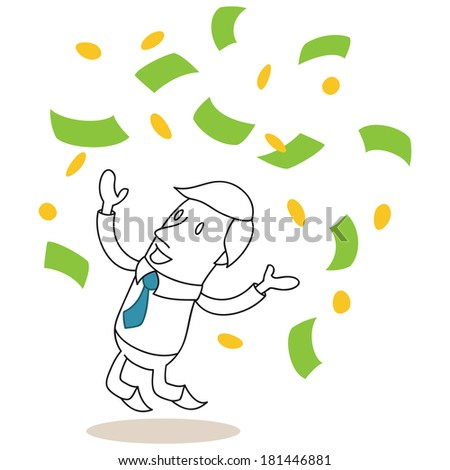 Illustration of a monochrome cartoon character: Happy businessman jumping and throwing bank notes and coins up - stock photo