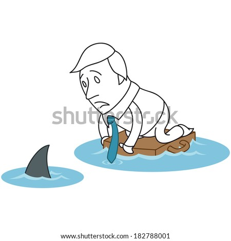 Illustration of a monochrome cartoon character: Scared businessman floating on briefcase in ocean with shark. - stock photo