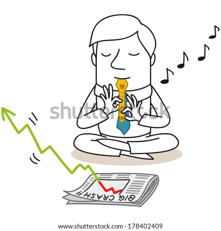 "Illustration of a monochrome cartoon character: Snake charming businessman sitting in front of newspaper reading ""big crash"" in stock market, playing the flute to make the decreasing graph grow again. - stock photo"