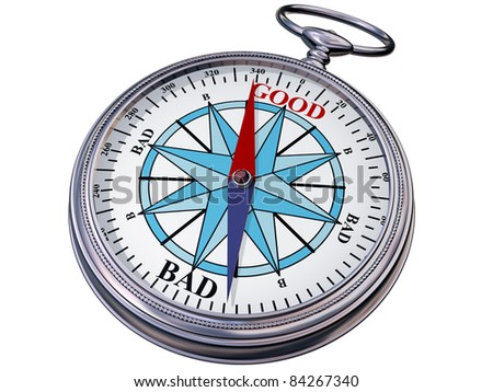 Illustration of a moral compass helping you to make the right decision - stock photo