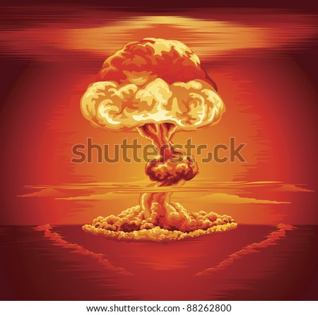 Illustration of a mushroom cloud following a nuclear explosion - stock photo