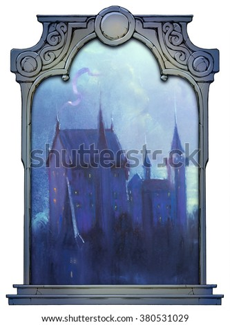 Illustration of a mysterious castle framed with a stone decorated hand drawn arch - stock photo