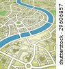 Illustration of a nameless street map from an angled perspective. Editable vector file (.eps) also available. - stock photo