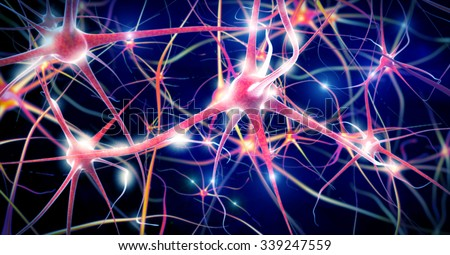 Illustration of a nerve cell - stock photo