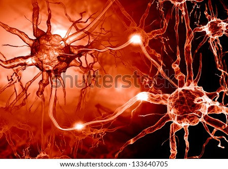 Illustration of a nerve cell on a colored background with light effects - stock photo