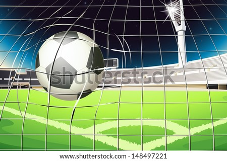 Illustration of a net with a soccer ball