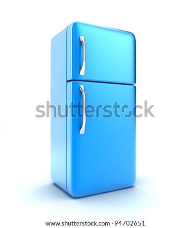 Illustration of a new fridge on a white background - stock photo