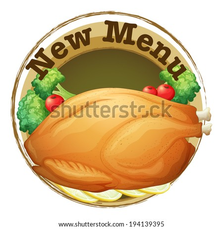 Illustration of a new menu label with a fried chicken on a white background - stock photo