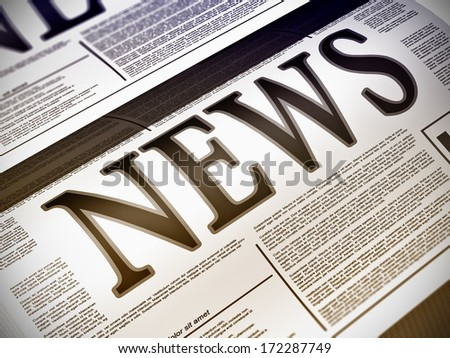 Illustration of a newspaper with news related text, lorem ipsum text - stock photo