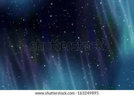 Illustration of a night sky with aurora borealis and stars - stock photo