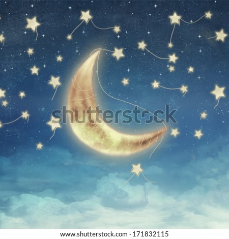 Illustration of a night sky with fantastic moon - stock photo