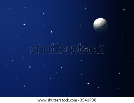 Illustration of a night sky with realistic moon. - stock photo