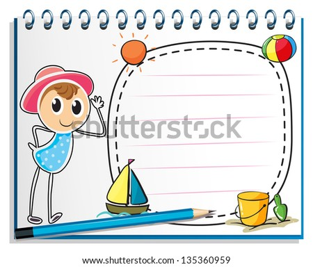 Illustration of a notebook with a drawing of a girl ready for summer on a white background