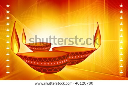 Illustration of a oil clay pot ignited