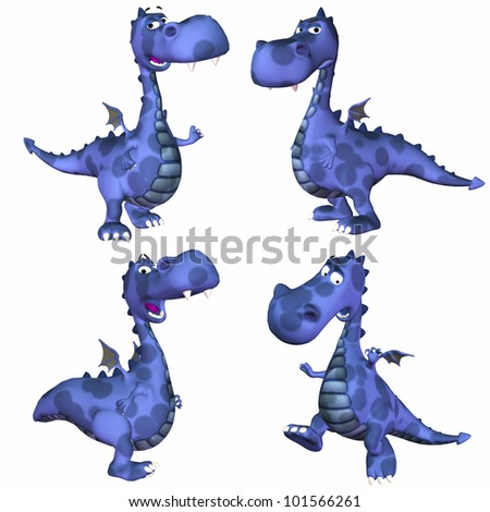 Illustration of a pack of four (4) blue dragons with different poses and expressions isolated on a white background - 3of3 - stock photo
