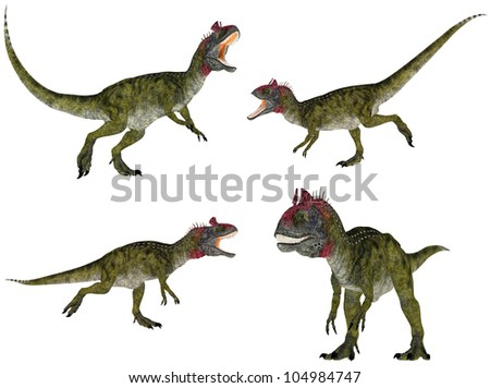 Illustration of a pack of four (4) Ceratosaurus with different poses isolated on a white background