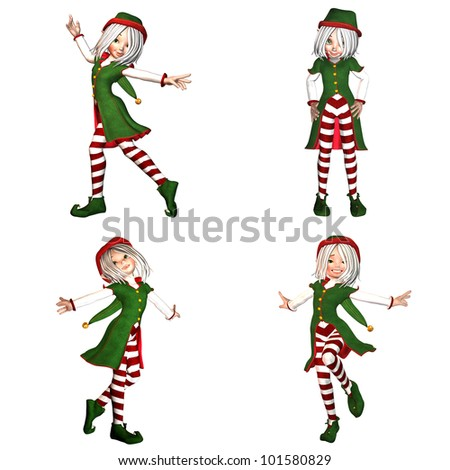 Illustration of a pack of four (4) christmas elves with different poses and expressions isolated on a white background - 2of6 - stock photo