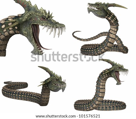 Illustration of a pack of four (4) creatures with different poses isolated on a white background - stock photo