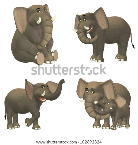 Illustration of a pack of four (4) elephants with different poses and expressions isolated on a white background