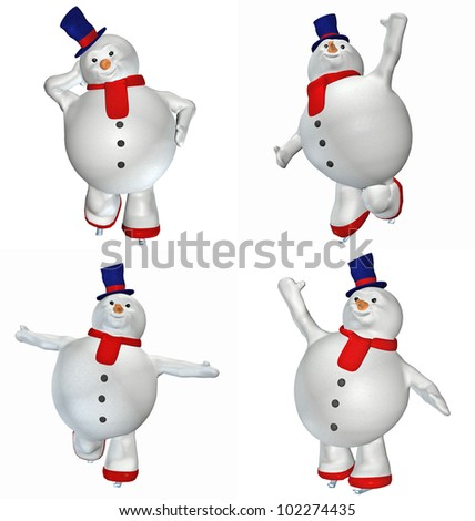 Illustration of a pack of four (4) snowmen with different poses and expressions isolated on a white background - stock photo