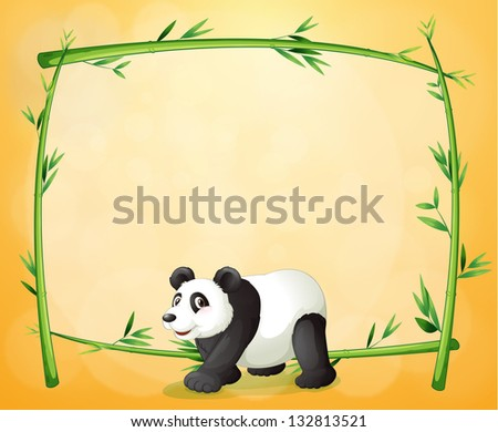 Illustration of a panda and the empty green frame on an orange background - stock photo