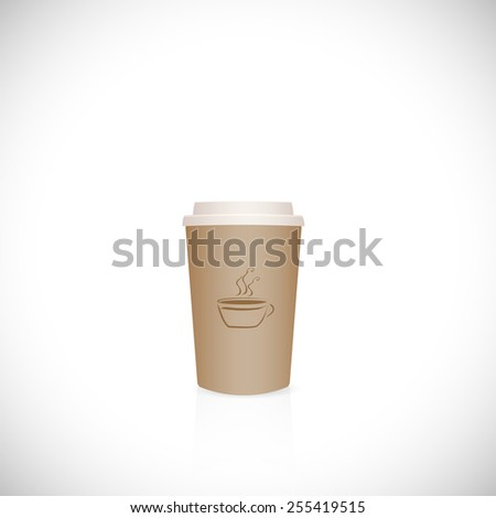 Illustration of a paper coffee cup isolated on a white background. - stock photo