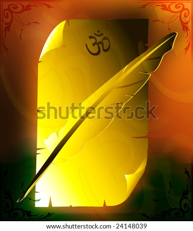 Illustration of a paper written Om and a quill