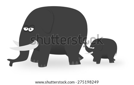 Illustration of a parent elephant and Calf - stock photo