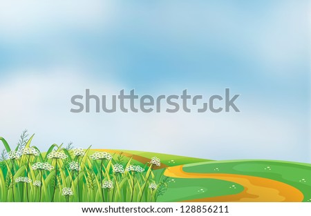 Illustration of a pathway at the hills - stock photo