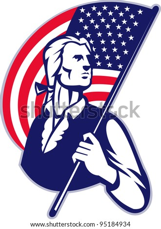Illustration of a patriot minuteman revolutionary soldier holding an American stars and stripes flag on isolated background.