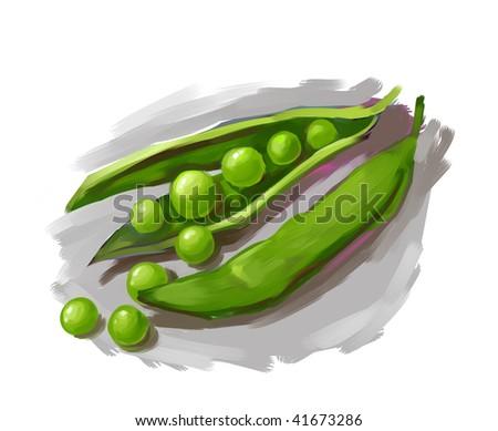 Illustration of a pea pod - stock photo