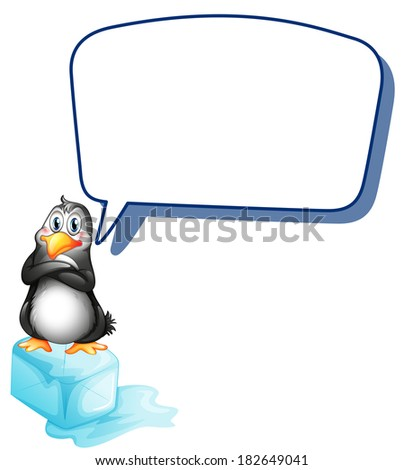 Illustration of a penguin above an icecube with an empty callout on a white background - stock photo