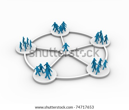 illustration of a person connected to different groups - this is 3d illustration - stock photo