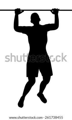 Illustration of a person doing pullups - stock photo