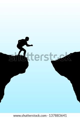 Illustration of a person getting ready to jump a gorge